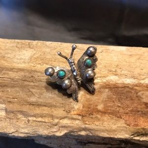 Vintage Sterling & Turquoise Butterfly Brooch